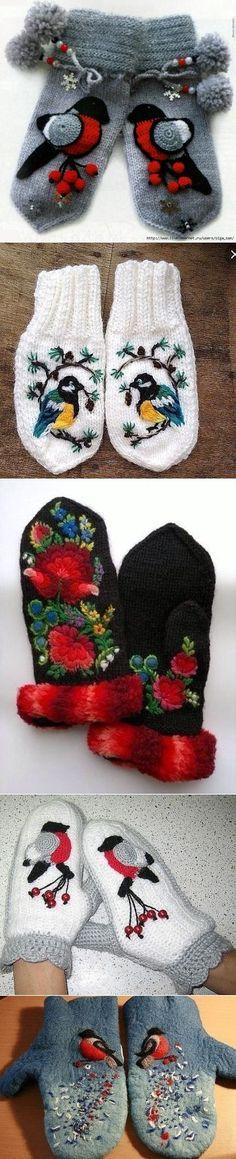 Идеи для зимних варежек Knit Mittens, Mitten Gloves, Crochet Slippers, Knit Crochet, Warm Outfits, Knit Fashion, Wool Sweaters, Knitting Patterns, Winter Hats
