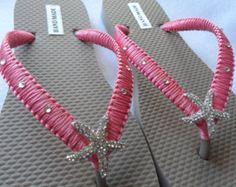 Marfil boda Flip Flops / chanclas de oro perlas por RossyAccesorios