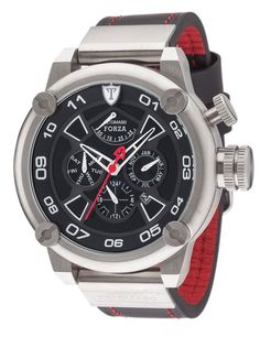 Detomaso Forza Men's Automatic Watch with Silver/Black Dial Analogue Display and Black Leather Strap DT2056-A