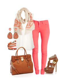 Would switch out the coral jeans and accessories for mint colored ones and keep the neutral bag and heels