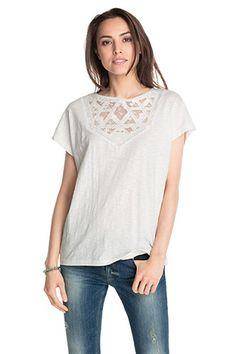 Esprit / T-shirt vaporeux en dentelle, 100 % coton