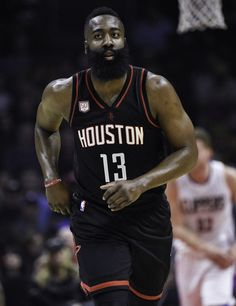 James Harden in action during the first half of an NBA basketball game against the Los Angeles Clippers in Los Angeles Houston Rockets v Los Angeles Clippers, NBA basketball game, Los Angeles, USA – 01 Mar 2017 (REX/Shutterstock)