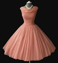 peach chiffon 50s dress. Even cuter than the purple one!