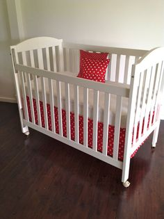 SALE ..Red spot Crib Skirt ready to ship in by AlphabetMonkey, $45.00