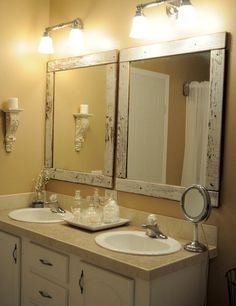 Like These Mirror Frames For Averys Bathroom Homemade Frame Bathroom Mirrors,  Those With One Large Mirror Over Dual Sinks Can Cut The Mirror In Two And  Add ...