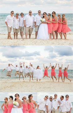 Dean + Amber's Riviera Maya Destination Wedding | Woods Photography. Photos of the wedding party on the beach. Taken at Grand Sunset Princess Wedding in Playa Del Carmen.  #PrincessHotels #weddingphotography