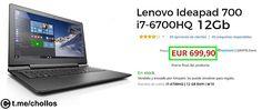 Portátil Lenovo i7-6700HQ 12Gb disponible por 699 - http://ift.tt/2sk9Cb4