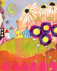 Love the bright colors.  Combines printmaking and painting.