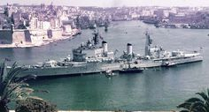 HMS Tiger (C20) was a conventional cruiser of the British Royal Navy, in Malta. (Rare Color)