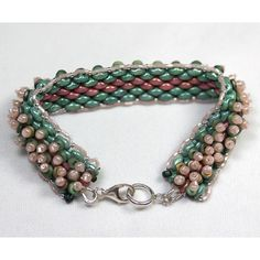 "Pink and Green Mountains Bracelet 6.5"" wrist w/ .925 Sterling Silver Clasp #Handmade #Statement"