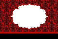 Vermelho Arabesco e Preto - Kit Completo com molduras para convites, rótulos para guloseimas, lembrancinhas e imagens!