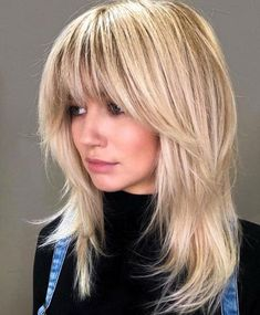 These medium blonde hairstyles prove that being just right doesn't mean being boring. Here are 25 mid-length blonde hairstyles to bring to the salon Medium Shag Haircuts, Shaggy Haircuts, Haircuts With Bangs, Blonde Fringe Hairstyles, Medium Length Layered Hairstyles, Weave Hairstyles, Blonde Lob With Bangs, Mid Length Hairstyles, Blonde Hair With Fringe