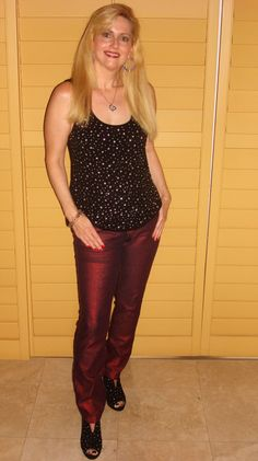 """Urban look - Metallic red """"skinny jeans"""" - My favorite sparkle T and the """"Booties"""" that match.  Top off with some big hoops & we are stylin'!"""