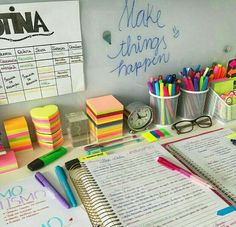 Glass board- creativ e idea! The quote 'Make things happen' is one to remember too Study Areas, Study Space, School Motivation, Study Motivation, Homework Motivation, College Organization, Study Desk Organization, University Organization, Study Hard