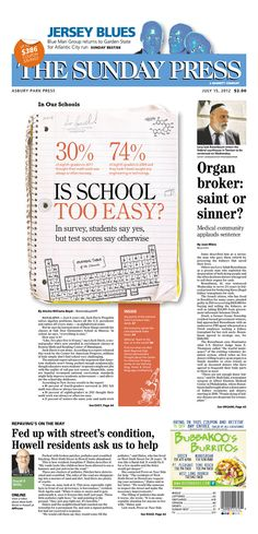 This layout is interesting and creative because the main graphic deals directly with the article and looks very different than most layouts. The composition book is related to the article about school and gives it a fun feel to the newspaper.
