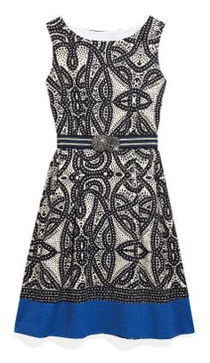 An exotic tile print updates a flattering A-line dress.