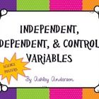 4 colorful posters to help students determine the difference between independent, dependent, and control variables....