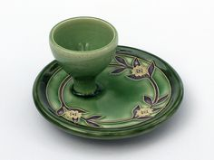 Egg cup with spring pattern in green and purple by One Acre Ceramics. American Made. See the designer's work at the 2015 American Made Show, Washington DC. January 16-19, 2015. americanmadeshow.com #eggcup, #ceramic, #green, #americanmade
