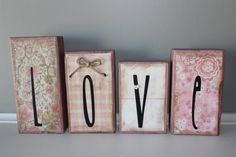 Valentines Day Love Holiday Wood Blocks