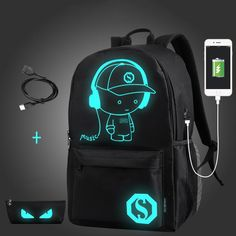 Senkey style USB Charge Men Backpacks Anime Luminous School Backpack Bag For Teenager Anti-theft Laptop Backpack Travel Mochila Laptop Rucksack, Computer Backpack, Computer Bags, Men's Backpack, Leather Backpack, Laptop Bags, Mochila Nike, Kit Mochila, Usb