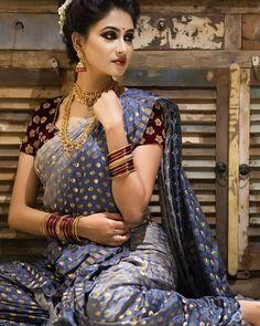 Marathi Bride, Marathi Wedding, Saree Wedding, Beautiful Girl Indian, Beautiful Girl Image, Most Beautiful Indian Actress, Desiner Sarees, Maharashtrian Saree, Saree Wearing Styles