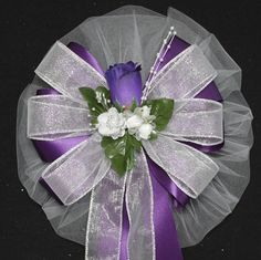 Purple Rosebud Silver Sparkle Wedding Bows Church Ceremony Pew Aisle Decorations
