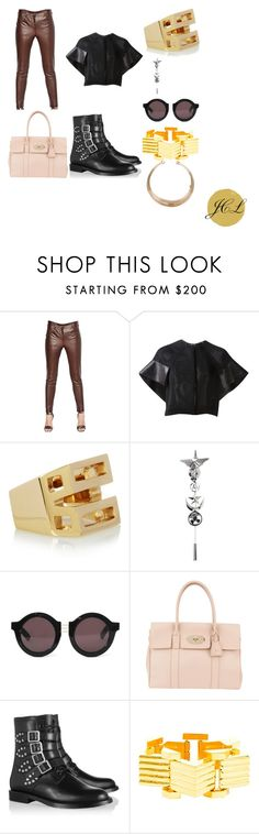 Givenchy Leather pants by dame-j on Polyvore featuring Thierry Mugler, Givenchy, Yves Saint Laurent, Mulberry, Chloé, AMBUSH, House of Holland and Leather