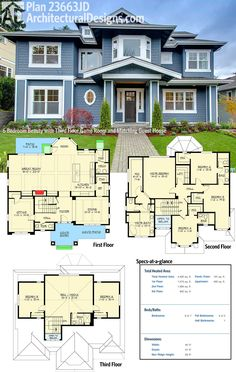 Architectural Designs House Plan 23663JD not only gives you a 3-story Craftsman-style beauty BUT ALSO a matching detached 2-car garage apartment!  Ready when you are. Where do YOU want to build?