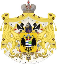 "Coat of Arms of the Dukes of Leuchtenberg, Princes Romanovsky (1852-1974): Prince Maximilian de Beauharnais (3rd Duke of Leuchtenberg, Prince of Eichstätt Beauharnais) (1 Nov 1817-1 Nov 1852) Bavaria 1st husband of Grand Duchess Maria Nikolaevna Romanova ""Mary"" (18 Aug 1819-21 Feb 1876) Russia-7 children."
