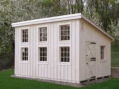 Custom Lean-to Style Shed with Painted Board & Batten Siding, Wood Windows, and Dutch Door http://www.backyardunlimited.com/custom-storage-sheds