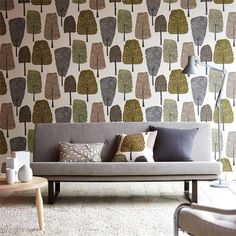 'Cedar' modern wallpaper by Scion has naively drawn trees and leaves, in trend-inspired color palettes. Modern Wallpaper, Retro Interior, Fabric Wallpaper, Living Spaces Rugs, Flamingo Wallpaper, Spring Wallpaper, Designer Wallpaper, Woodland Wallpaper, Wall Coverings