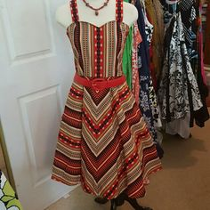 TRIBAL BOHO RETRO STYLE CIRCLE DRESS, NWOTS Handmade dress that's new,, made for a woman and it didn't fit her. She gave it to me.  You must wear with a petticoat for the full effect, :). Belt and necklace are not included. Handmade  Dresses Midi