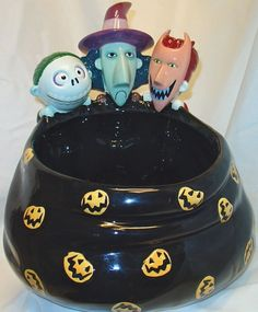 DISNEY-NIGHTMARE BEFORE CHRISTMAS CANDY BOWL-LOCK-SHOCK-BARREL-RARE-NEW-BIG-COOL