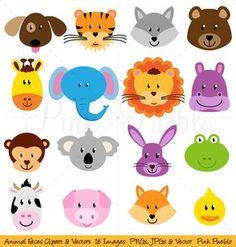 Facce di animali Clipart Clip Art Zoo Jungle Farm di PinkPueblo