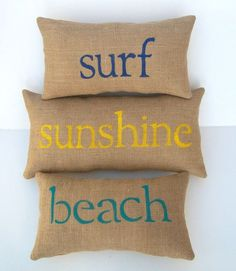 burlap pillows SURF SUNSHINE BEACH word pillows, set of 3, home, beach house decor, housewarming gift, custom made