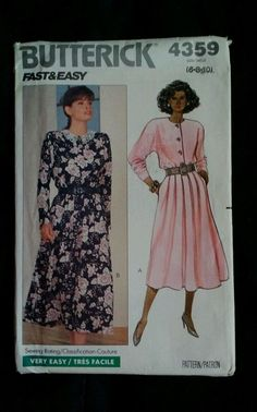 Butterick 4359 ladies sewing  pattern top button dress  New size 6-8-10 #Butterick #SewingPattern