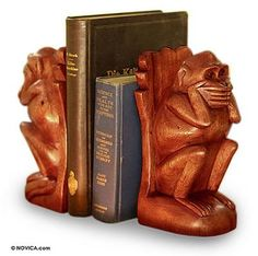 Hand Carved Wood Monkey Bookends (Pair), 'Speak No Evil Monkey'