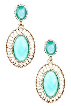Turquoise & Gold Double Stone Drop Earrings