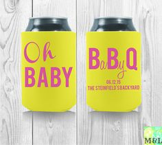Personalized Baby Shower Koozies  Oh Baby BBQ Fun by MintandLemon