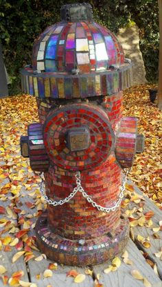 She told me that she was working on a mosaic fire hydrant... I did not envision it life sized! Amazing!!!!!
