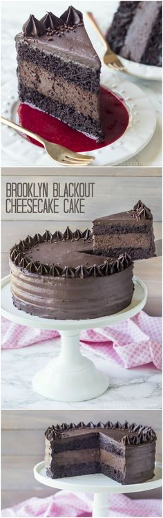Moist chocolate cake surrounds a layer of the darkest chocolate cheesecake, all wrapped in a fudgy buttercream. If you have a chocoholic in your life, make them this Brooklyn Blackout Cheesecake Cake! Just Desserts, Delicious Desserts, Yummy Treats, Sweet Treats, Dessert Recipes, Health Desserts, Dessert Food, Cheesecake Cake, Homemade Cheesecake