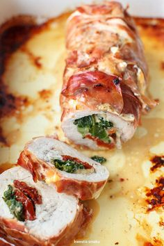 Turkey Stuffed with Sun-Dried Tomatoes, Cheese & Kale Healthy Cooking, Cooking Recipes, Healthy Recipes, Salty Foods, Best Appetizers, Tasty Dishes, Food Photo, Carne, Food To Make