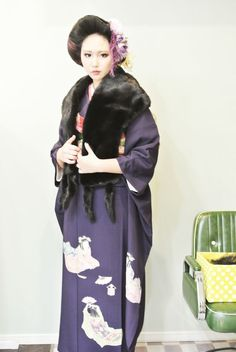 coming of age ceremony hair design and kimono portrait