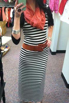 Striped maxi dress worn with a black cardigan, bright scarf & cognac brown belt