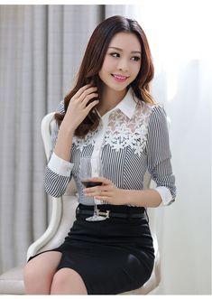 Aliexpress.com: Comprar Nuevo 2016 blusas de primavera de manga larga elegante delgado de rayas Print Lace Patchwork gasa camisa tallas grandes mujer de encaje Tops 801C 25 de camisa de méxico fiable proveedores en dsg Fashion Co Ltd's store