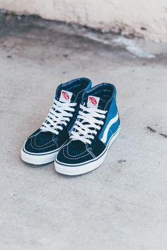 Vans Sk8-Hi In Navy  #Vans #VansCA #CA #Sk8 #Skateboard #Fashion #Streetwear #Style #Urban #Lookbook #Photography #Footwear #Sneakers #Kicks #Shoes