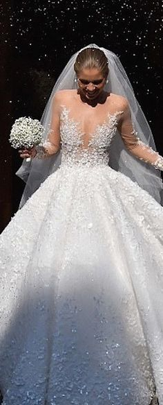 The Chic Technique: Elegant long sleeved ballgown wedding dress/bridal gown.