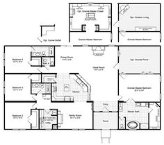 The Hacienda III Floor Plan with Opt. Outdoor Living or Opt. Grande Master Closet The Hacienda III Floor Plan with Opt. Outdoor Living or Opt. U Shaped House Plans, Metal House Plans, Barn House Plans, New House Plans, Dream House Plans, House Floor Plans, Master Suite, Master Closet, Master Key
