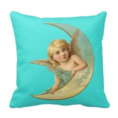 Vintage Blue Angel on the Moon Pillow