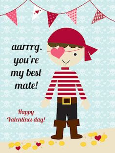 """Love these --- get rid of the """"valentine"""" part and turn into an invite to pirate party."""